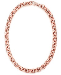 Bronzarte 18K Rose Gold Over Bronze Necklace Rollo Chain Necklace
