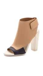 Vince Agatha Open Toe Booties Heather Indigo Nude Bone