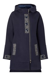James Lakeland Hooded Quilted Coat Blue
