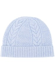 N.Peal Cable Knit Beanie Blue