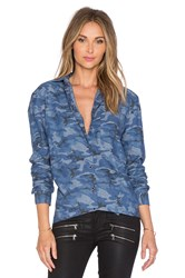Atm Anthony Thomas Melillo Camo Boyfriend Shirt Blue