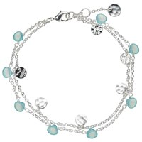 John Lewis Silver Plated Aqua Chalcedony And Hammered Disc Double Chain Bracelet Silver Blue
