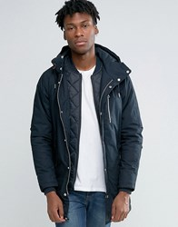 Pull And Bear Pullandbear Parka Jacket In Navy Navy Blue