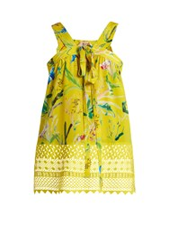 N 21 Lace Hem Bird Print Silk Top Yellow Multi