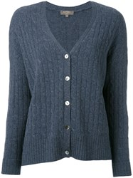 N.Peal Oversize Box Cable Cardigan Blue