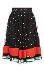 Mary Katrantzou Snow Sparkle Skirt With Striped Hem Multi