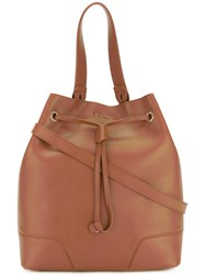 Furla Small Bucket Tote Women Leather One Size Brown