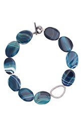 Nina Agate And Pave Link Necklace Blue Agate Gunmetal