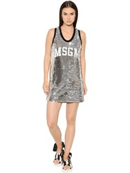 Msgm Logo Sequined Tulle Mini Dress