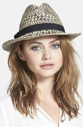 August Hat Straw Topper Fedora Black