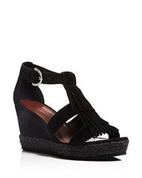 Bernardo Kaya Fringe Wedge Sandals Black
