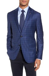 Ted Baker Men's London Konan Trim Fit Plaid Wool Sport Coat Blue W Light Berry Windowpane
