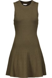A.L.C. Rory Pleated Ribbed Knit Mini Dress Army Green