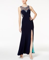 Betsy And Adam Petite Embellished Illusion Gown Navy Sea Blue