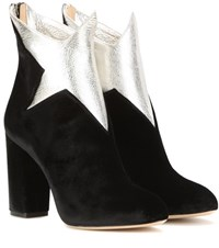 Charlotte Olympia Galactica Velvet And Leather Ankle Boots Black