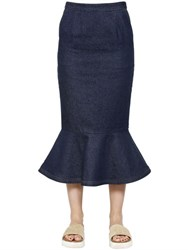 Steve J And Yoni P Flared Cotton Denim Skirt