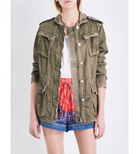 Free People Double Cloth Military Denim Jacket Moss