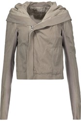 Rick Owens Leather Hooded Biker Jacket Gray