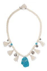 Chan Luu Tasseled Turquoise And Silver Beaded Necklace Ivory