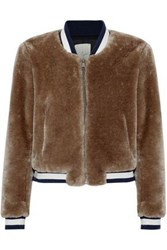Joie Arleigh Faux Fur Bomber Jacket Brown
