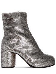 Maison Martin Margiela 80Mm Tabi Sequined Ankle Boots Silver