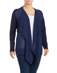 Michael Michael Kors Plus Mixed Media Flutter Front Cardigan True Navy
