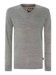 Barbour Barbane V Neck Jumper Grey