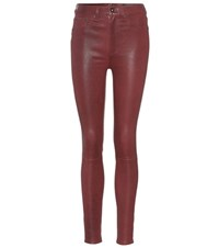 Rag And Bone Leather Skinny Jeans Red