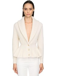 Alexander Mcqueen Ruffled Cashmere Blend Knit Cardigan Ivory