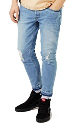 Topman Men's Ripped Cutoff Stretch Skinny Fit Jeans
