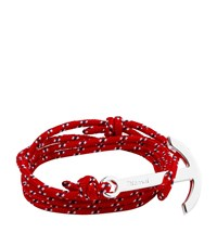 Miansai Silver Anchor Rope Bracelet Unisex Red