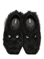 Fendi Faces Fur Slippers