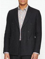 Reiss Welton Slim Fit Double Breasted Peak Blazer Black