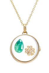 Loquet 14Kt Round Locket With 18Kt Charm Diamonds And Emerald Multicolor