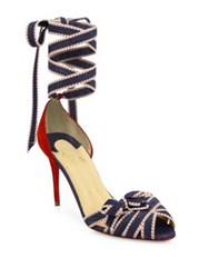 Christian Louboutin Christeriva Denim And Suede Ankle Wrap D'orsay Pumps Red Blue