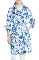 Women's Eliza J Floral Print Long Trench Coat Blue Blossom