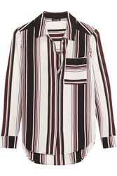 Splendid Striped Washed Silk Shirt Merlot