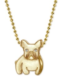Alex Woo Diamond Accent Bulldog 16 Pendant Necklace In 14K Gold Yellow Gold