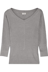 Temperley London Carmina Wool And Silk Blend Sweater Gray