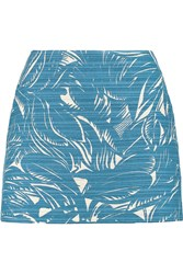 Tory Burch Printed Cotton And Linen Blend Mini Skirt Blue