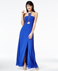 Amy Byer Bcx Juniors' Beaded Halter Gown Royal