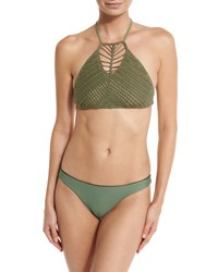 Suboo Aztec Crocheted Two Piece Swimsuit With Reversible Bottom Matte Black