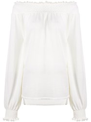Laneus Off Shoulder Knitted Top White