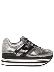Hogan 70Mm Maxi 222 Lame Leather Sneakers Silver