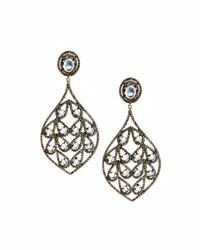 Bavna Rainbow Moonstone And Champagne Diamond Drop Earrings