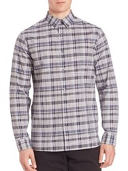 Vince Button Front Check Shirt Plum