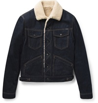 Tom Ford Shearling Lined Denim Jacket Blue