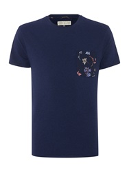 Linea Limited Buckingham Crew Neck With Print Pocket Indigo