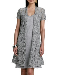 Eileen Fisher Rustic Luster Long Lacy Cardigan Petite