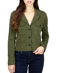 Lucky Brand Cropped Button Front Jacket Military Olive